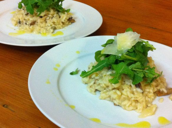 Mixed mushroom risotto on 2 plates