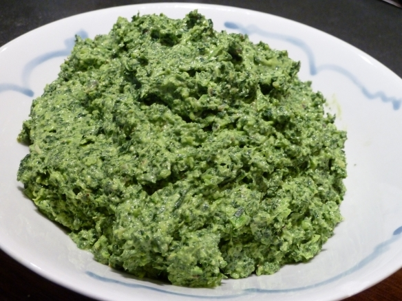 Cavolo nero and ricotta mixture blended together