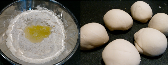 Ingredients for pie dough and individual balls of dough