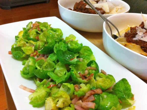 sprouts with bacon garlic and chilli