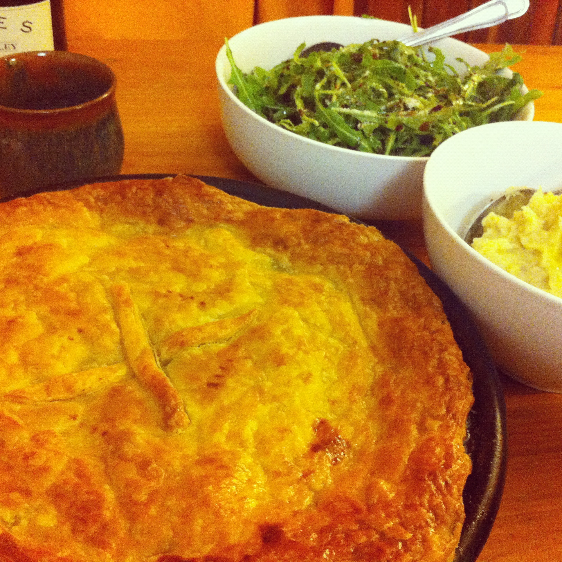 Chicken And Leek Pie On The Table