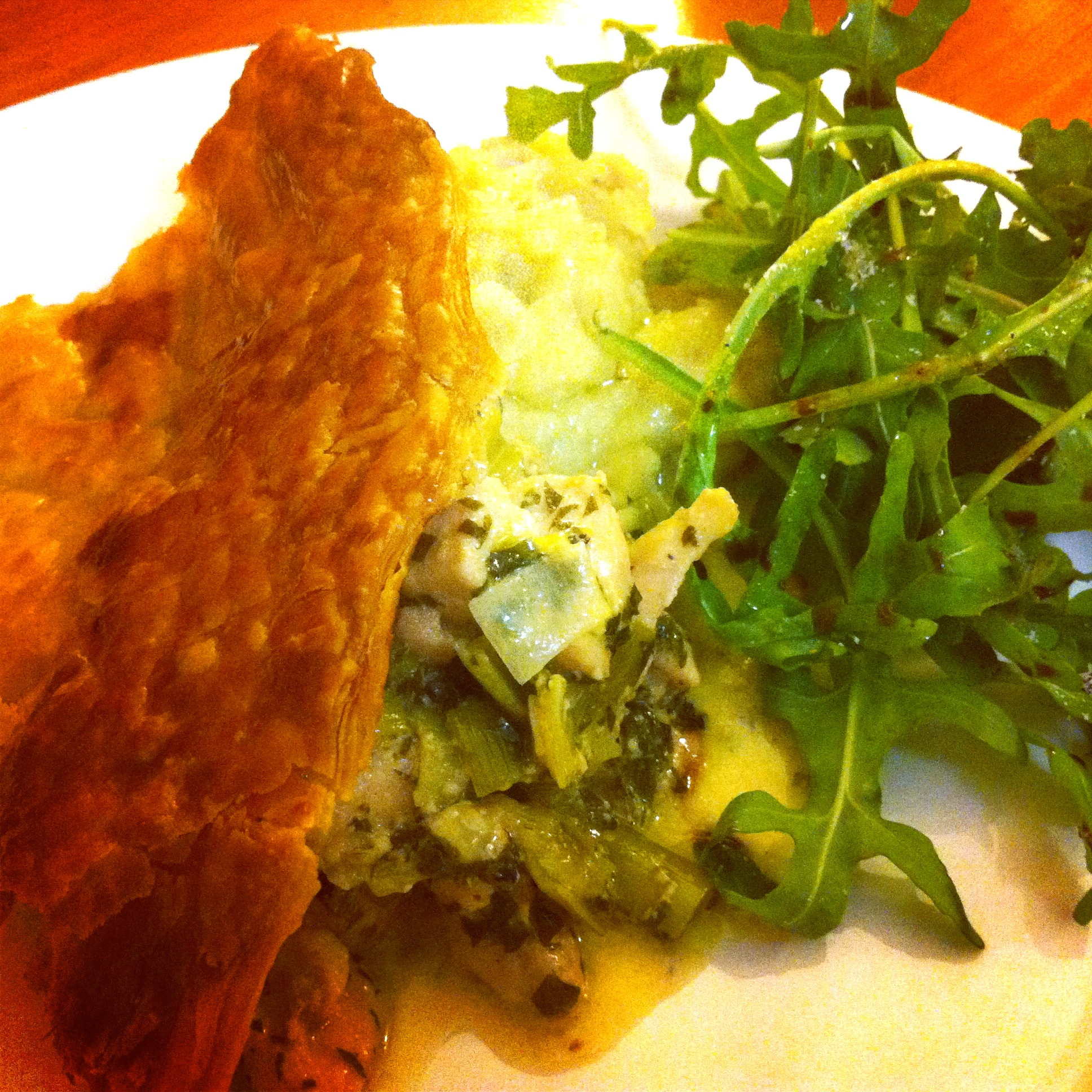 Chicken And Leek Pie On A Plate With Salad