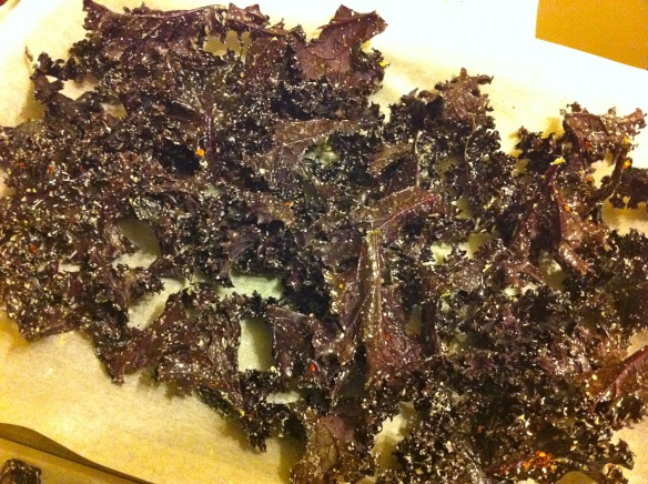 Kale with parmesan and chilli before being cooked