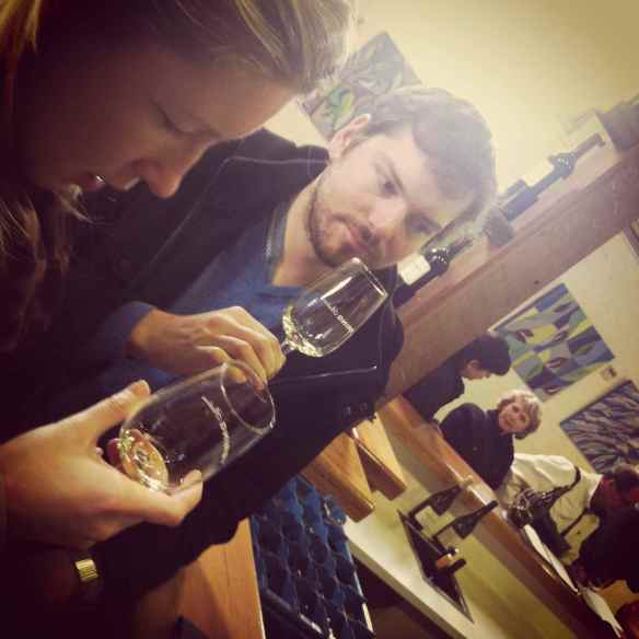 Two people tasting white wine at Yering Station