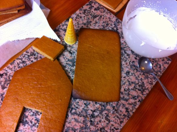slabs of gingerbread ready to be constructed