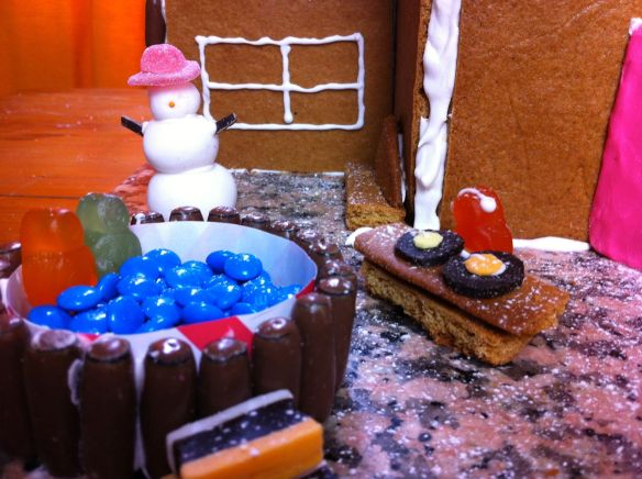snowman, jacuzzi and dj made out of lollies