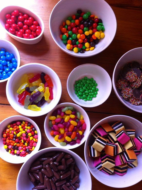 colourful lollies in bowls