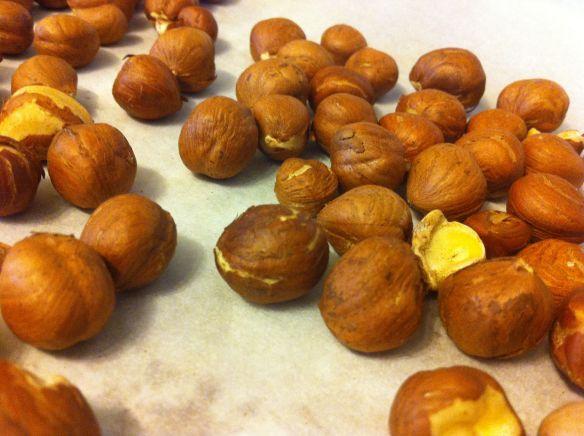 roasted whole hazelnuts on a tray
