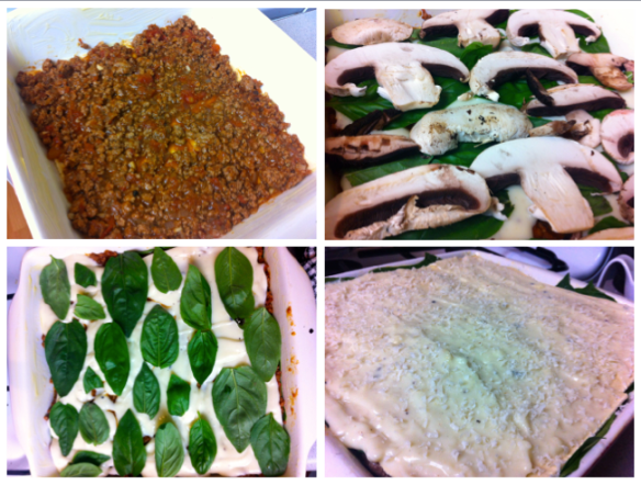 Lasagne being built in stages
