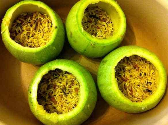 hollowed marrows stuffed with rice