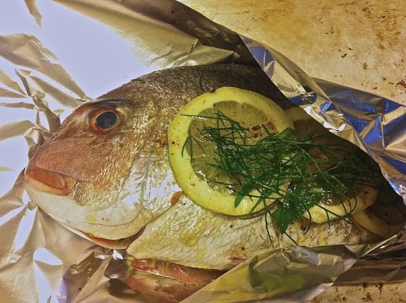snapper wrapped in foil