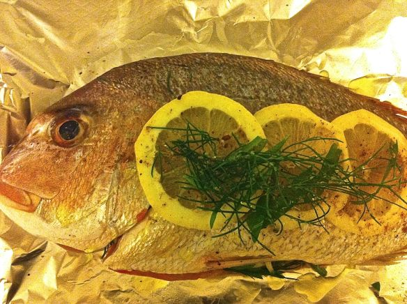 whole stuffed snapper ready to be barbequed