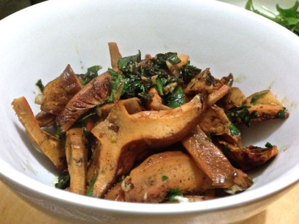 bowl of panfried pine mushrooms