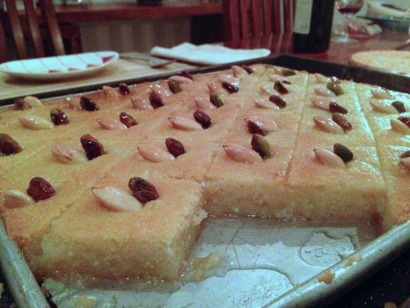 semolina slice in a tray with sugar syrup