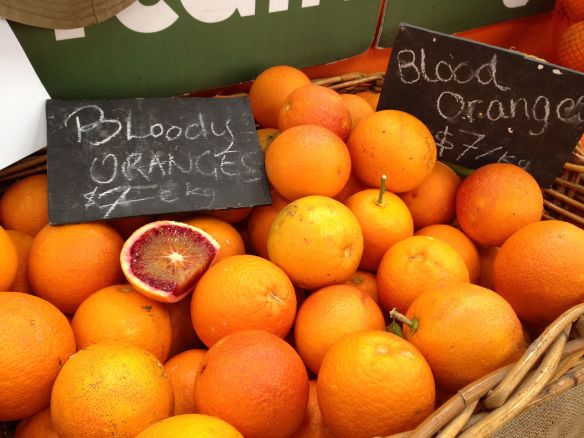 blood oranges at the market