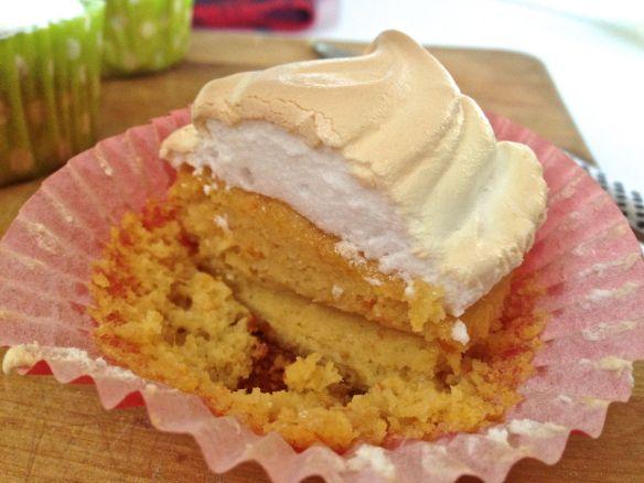 half-eaten blood orange meringue cupcake