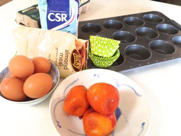 ingredients for blood orange meringue cupcakes